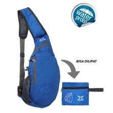 TAS LIPAT WATERPROOF Tas Selempang Lipat Anti Air Foldable Waterproof Slingbag 1AX802 ELFS Biru Tua